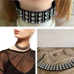 "Zara Crystal Choker Necklace 11""-14"" L Black Metal"
